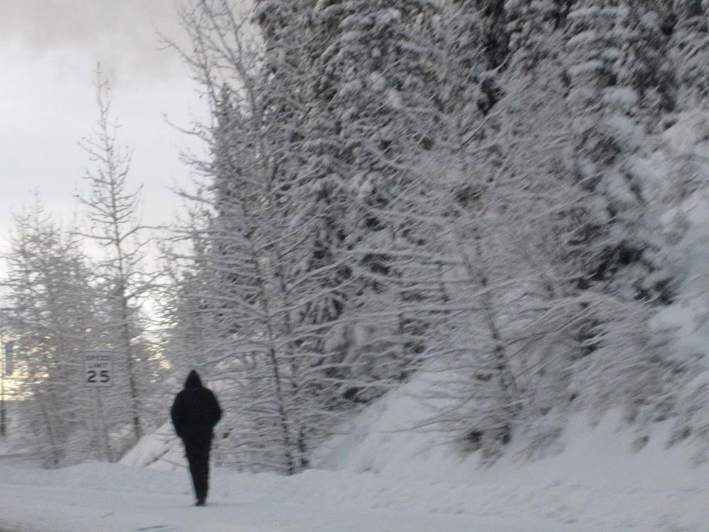 man walking fairbanks alaska cold winter