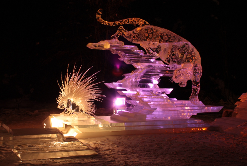 leopard and porcupine ice art