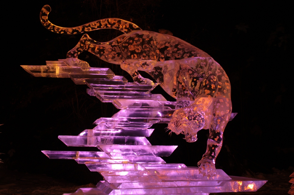 leopard ice art